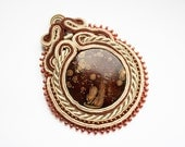 JUPITER - soutache pendant, handmade, embroidered in ecru, beige and brown satin strips, toho beads. Perfect gift - oaak. - SaboDesign