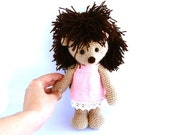 pink dressed girl hedgehog, stuffed hedgehog doll, crocheted porcupine, amigurumi hedgehog, pink dark brown, - crochAndi