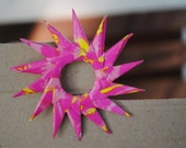 Sun Paper Brooch - eco friendly - Pink and Yellow