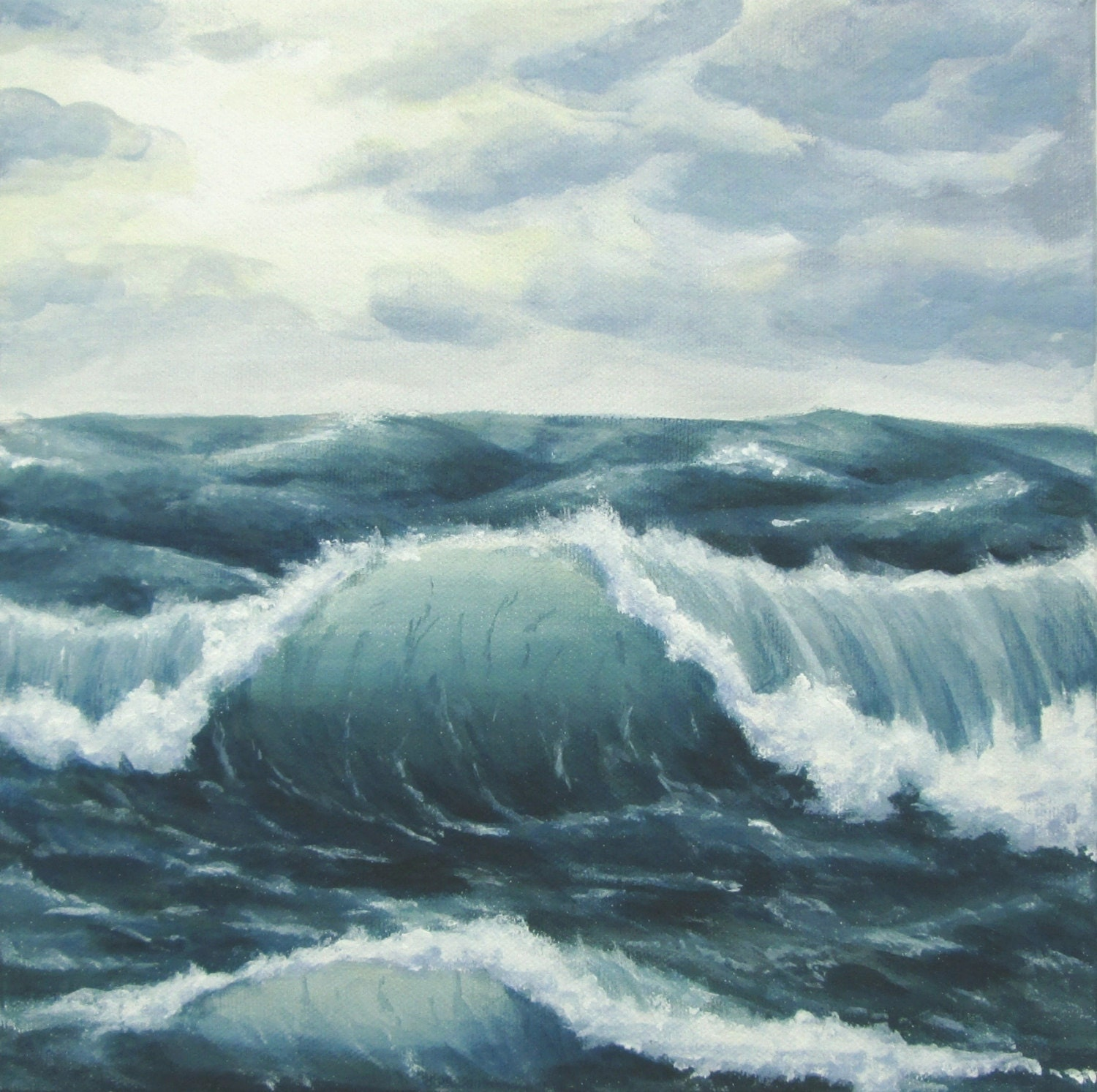 stormy sea, ocean painting, ocean waves, seascape, cloudy sky seascape, ocean acrylic painting, ocean storm, rough seas painting, choppy seas