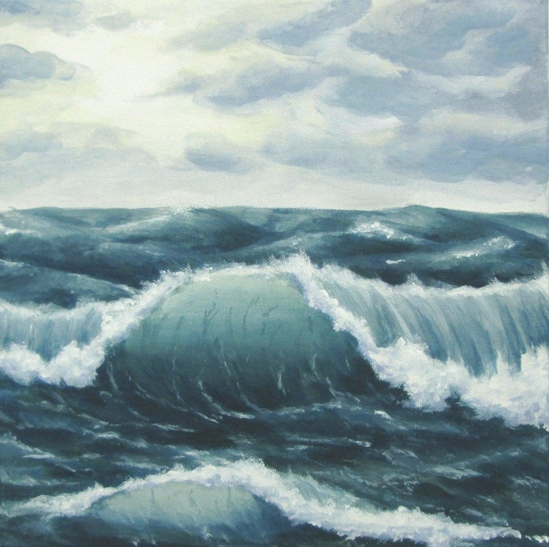 stormy sea, ocean painting, ocean waves, seascape, cloudy sky seascape, ocean acrylic painting, ocean storm, rough seas painting, choppy seas