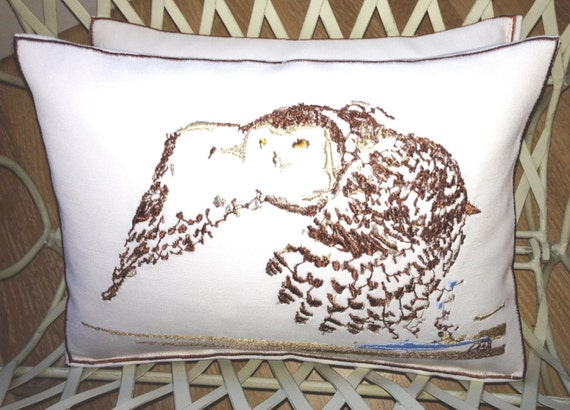Oscar the Owl, Artistic Embroidery - Throw Cushion
