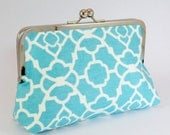 LARGE clutch in Lovely Lattice - Aqua Blue - sallyandjane