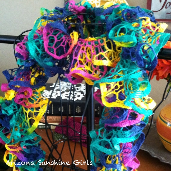 Rainbow Ruffle Scarf from Arizona Sunshine GIrls
