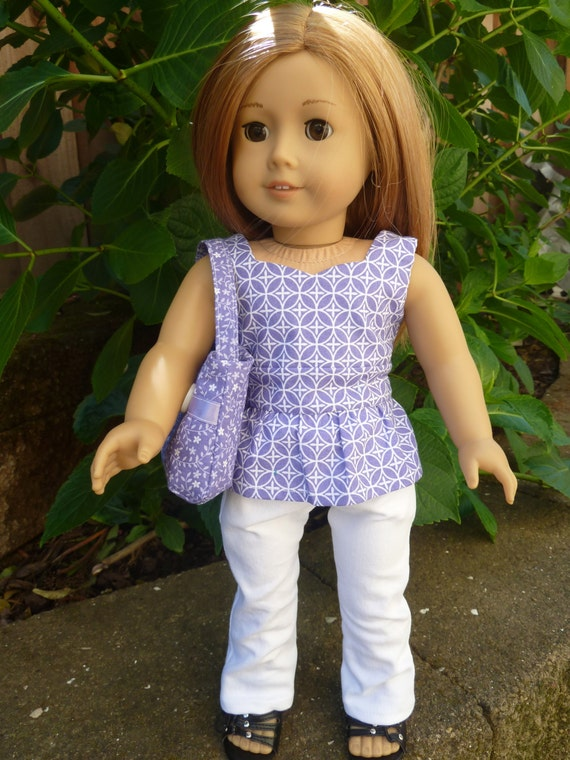American Girl Doll Clothes - More Fun Around Town 3 piece outfit includes jeans, peplum top and purse