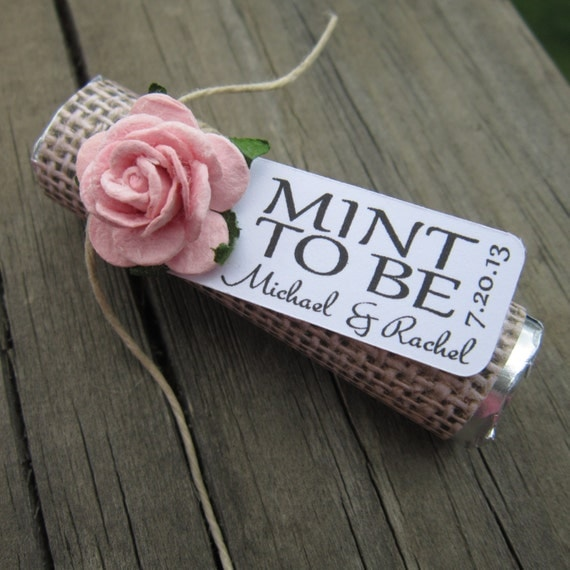 "Bridal shower wedding favor - ""Mint to be"" favors with personalized tag"