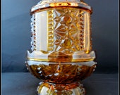 1970's vintage amber Indiana Glass Company pattern Ing7 pressed 2 piece glass fairy lamp candle holder