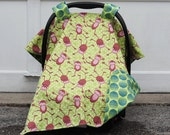 Baby Boy Infant Car Seat Tent/Canopy Cover in Super Soft Flannel - Monkey Play