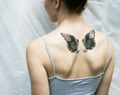 wings black and white vintage angel bird temporary tattoo - pepperink