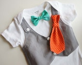 Tuxedos Baby  Gray Suit- Changeable bow tie, vest , short sleeve bodysuit