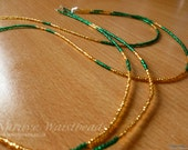 Green and Gold Waistbeads - Double Stranded