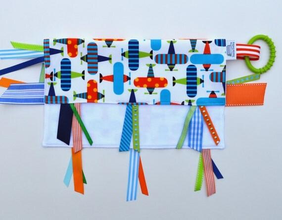 ORGANIC Blanket /  Tag Blanket / ORGANIC Lovie  / ORGANIC Sensory Ribbon Blanket
