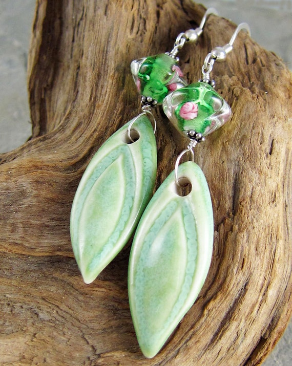 Handmade ceramic and glass green earrings