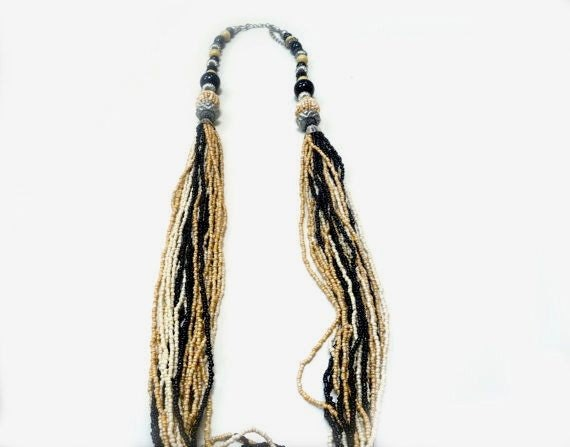 Summer Tribal Seed Bead Necklace Bohemian - Tan White Black Beige Seed beads