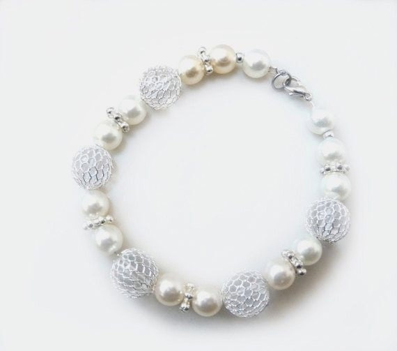 June Birthstone Pearl Summer Cream Unique Optic White Bridal Wedding Bracelet