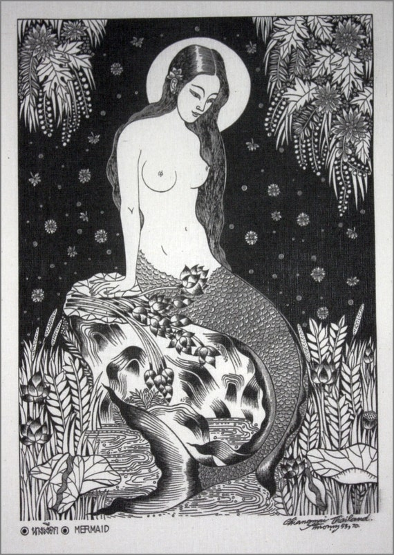 Thai traditional art of Mermaid  by silkscreen printing on Natural colors cloth.