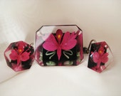 Vintage Lucite Brooch & Earrings Set Reverse Carved Orchid Iris Flower - RepurposedTreasure