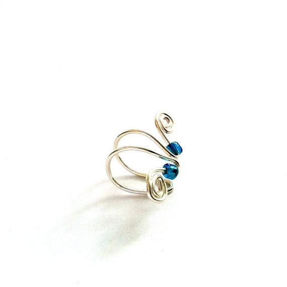 Aqua Bead Ear Cuff handmade wire 2 metal ear cuffs Mother's Day Gift Free US Shipping