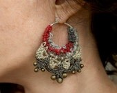 Large red and grey variable crochet tribal earrings - KettleMist