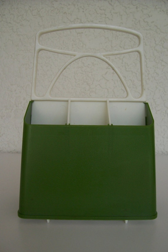 Vintage Avocado Green Flatware caddy Table Top caddy by SKOOPINKIE