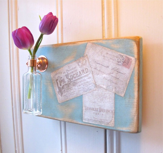 Wall Flower Vase, Antique Bottle, French Inspired, Label, Post Card, Copper Hanger, Home Decor, Sign, Provence Chalk Paint, Light Blue