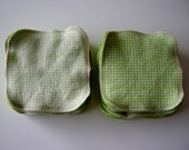 30 lime green bamboo cotton velour family cloth // pale and lime green checkers // baby wipes ... face wipe ... recycled