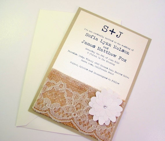 Burlap Lace Rustic Wedding Invitation Invite Shabby Chic - flower