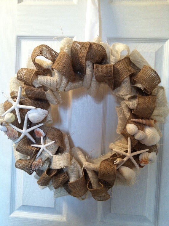 "ON SALE 24"" Nautical Burlap  Wreath, Nautical. Wreath, Burlap Wreath"