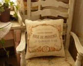 Rose de Provence,  French cushion - Accessory for French dollhouse in 1:12th scale - AtelierdeLea
