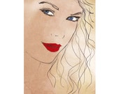 TAYLOR SWIFT 11x16 in. Poster based on my handmade drawing, Print Art Original, Taylor Swift Lyrics
