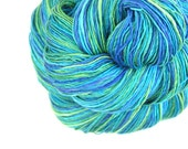 Handspun Yarn, Sport weight, Silk Merino 50/50, 469 yards, 4.0 oz, blue, green, aqua, Hand Painted, Swimming Pool - TheSavvyStitch
