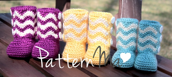 Crochet Pattern Instant Download Chevron Boots