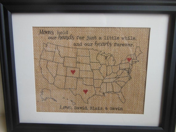 Mothers Day Burlap Print - Gift for Mom or Grandma Map with hearts in locations