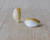 Shell earrings white and gold / summer earrings - DEMI - AMEjewels