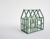 Grass green geometric framework house - miniature architectural structure - spring colors - 2of2