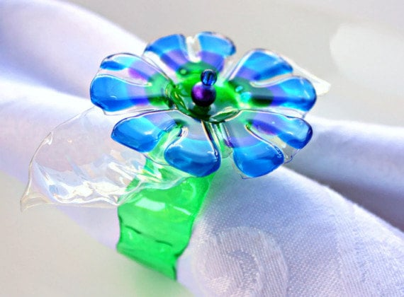 Blue Napkin Ring Set of 6 Daisy flower upcycled bottle recycled plastic peacock table home decor green ring beaded purple repurposed ombre