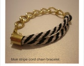 Blue stripe silk knot bracelet with gold filled chain, in fashion gift
