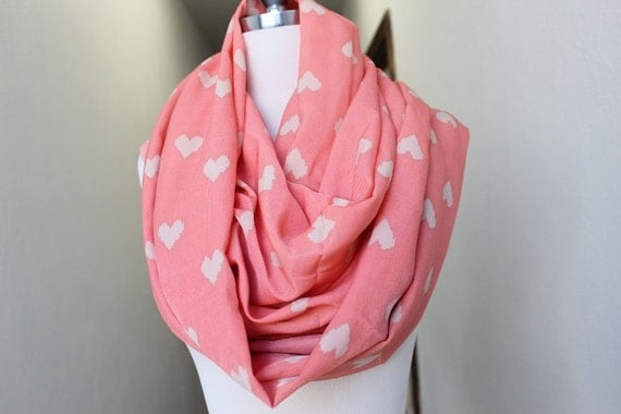 Peach  color scarf  with cream  color  hearts  print  for  Woman great accessory for your outfit