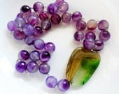 Purple Agate Necklace -  Sterling Silver Purple and Green Gemstone Handmade Beaded Necklace