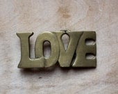 Love Is... - Vintage Solid Brass Belt Buckle - Love - Gold - Golden - Shiny - Accessory - attentionvintage