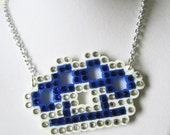 Sparkly Blingy Rhinestone Crystal Blue Iron Knuckles Necklace