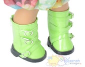"Releaserain Buckles Rain Boots Doll Shoes Patent Light Green for 18"" American Girl dolls"