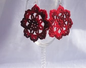 Snowflake Inspired Earrings -- Crocheted Two-Toned Red and Black