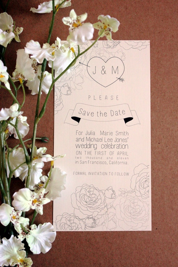 Printable Wedding Save the Date: Roses Series, Made to order download