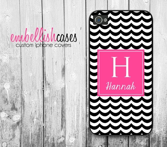 monogram iPhone 4 Case - personalized iphone case, black pink chevron iphone 4 case, initials iphone 4s case, 193