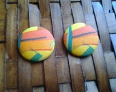Fabric Covered Button Earrings-Miami Sunset
