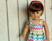 American Girl Doll Clothes - Shirred Sundress with Bracelet - Girl Chevron - Also in pink, red, classic rainbow, green, blue, purple, orange - daisychainsdoll