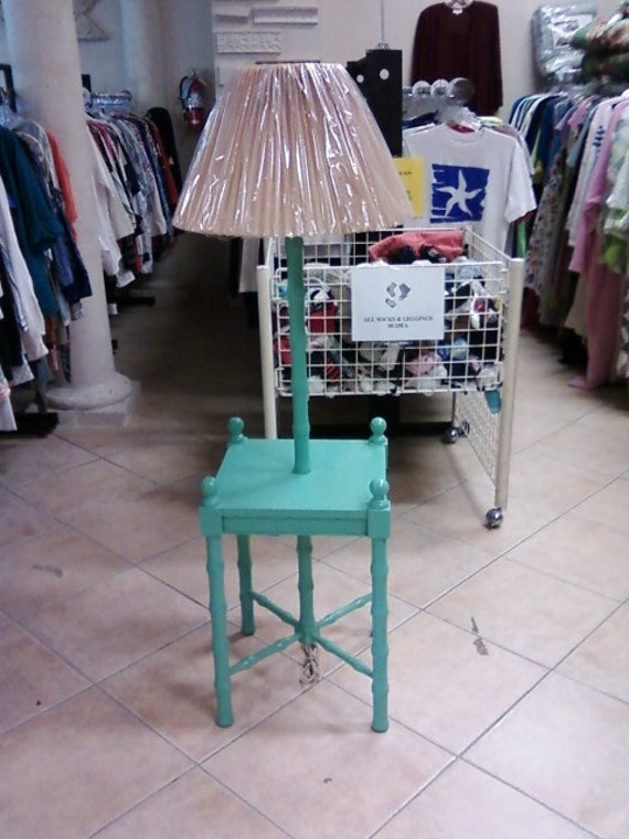 Vintage floor lamp with attached table One of a by leeannnewton
