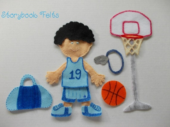 Storybook Felts Felt My Little Basketball Star Boy Doll Dress Up Set  10 PCS