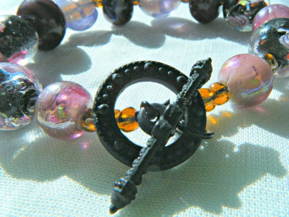 Lampwork Bead Bracelet lavender roses black metal clasp with rhinestone adornment